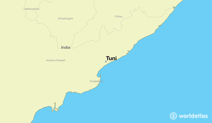 map showing the location of Tuni