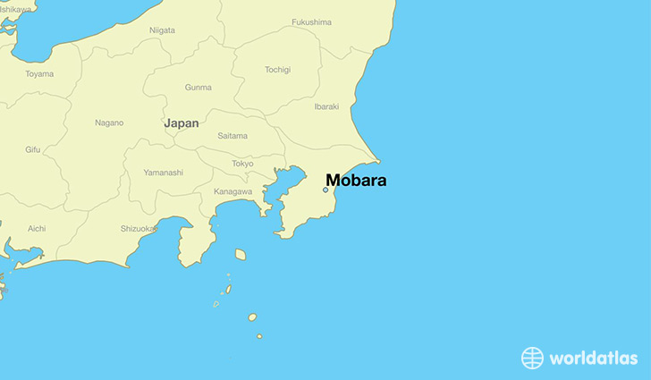 map showing the location of Mobara