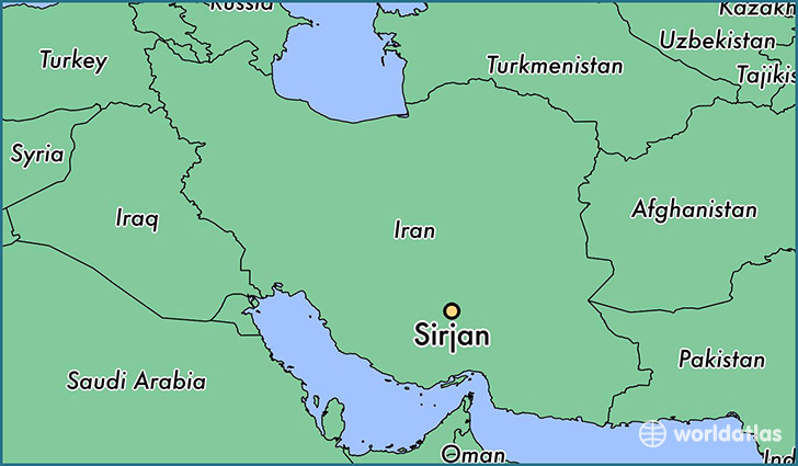 map showing the location of Sirjan
