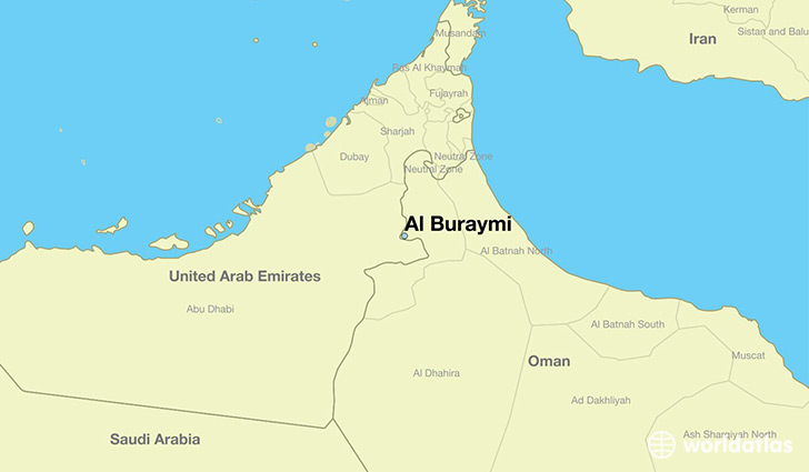 map showing the location of Al Buraymi