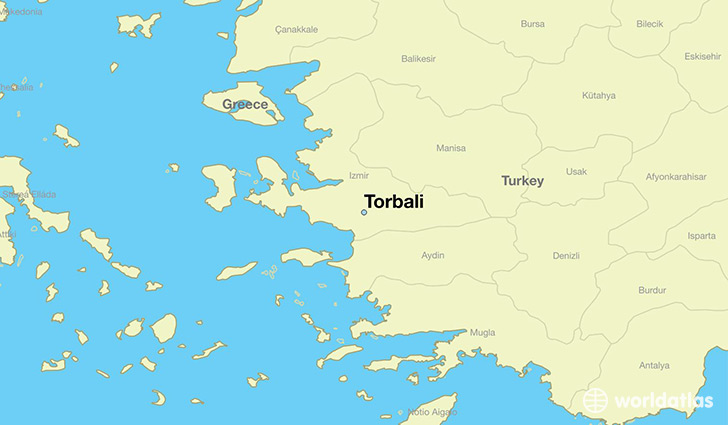 map showing the location of Torbali