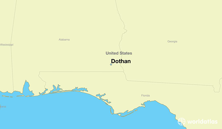 map showing the location of Dothan