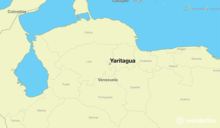map showing the location of Yaritagua