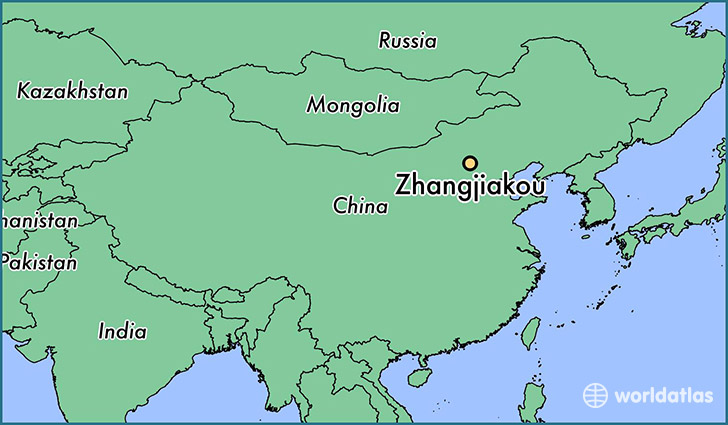 map showing the location of Zhangjiakou