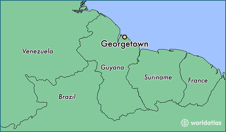 map showing the location of Georgetown