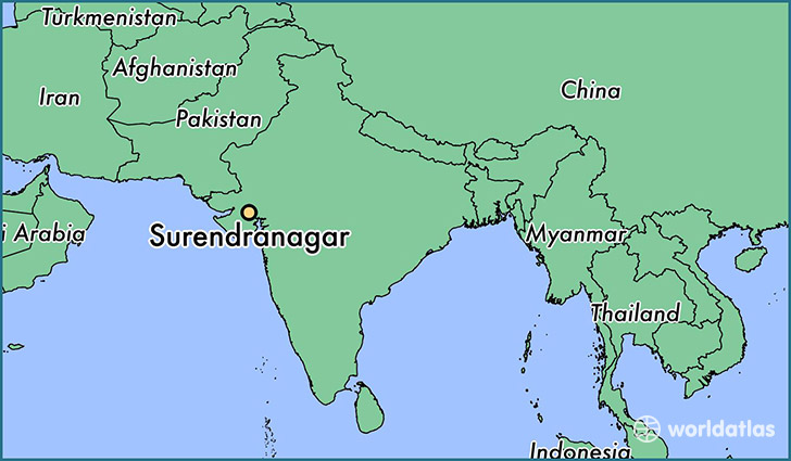 map showing the location of Surendranagar