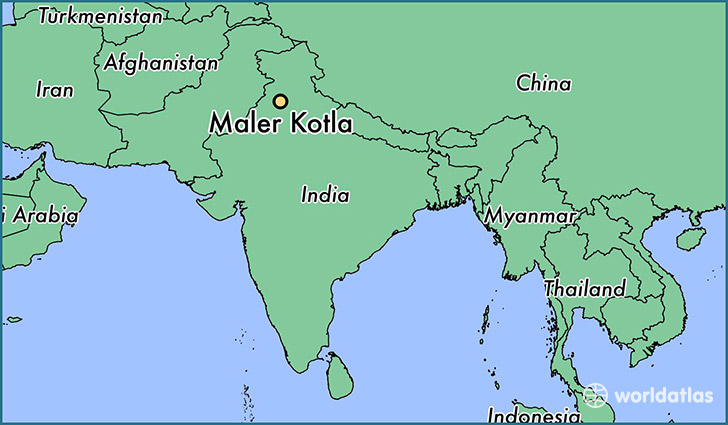 map showing the location of Maler Kotla