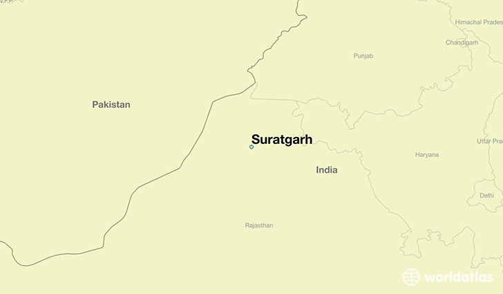 map showing the location of Suratgarh