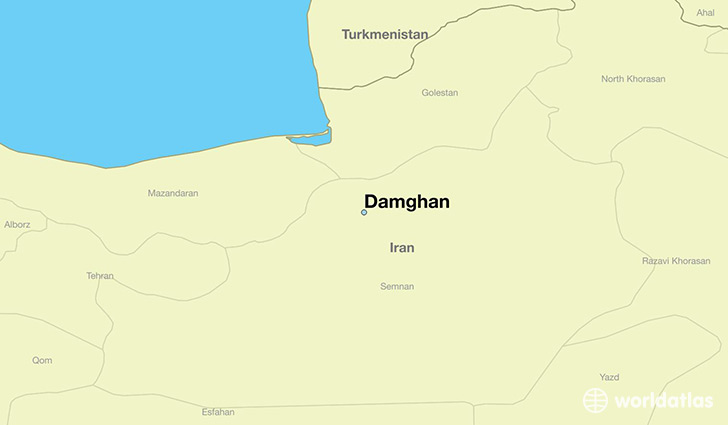 map showing the location of Damghan