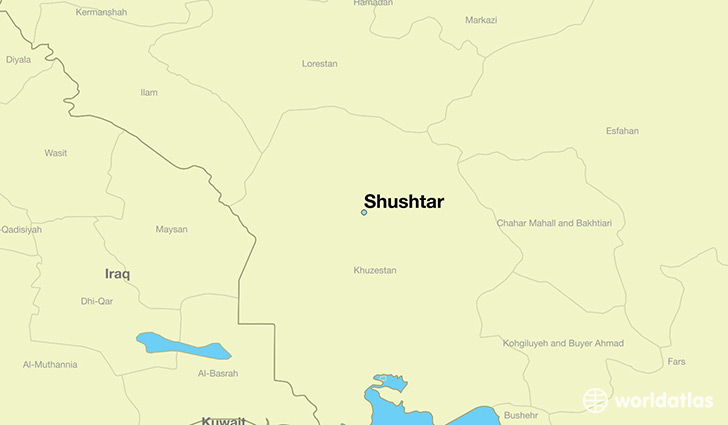 map showing the location of Shushtar