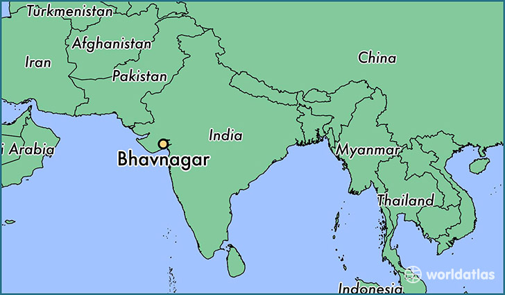 map showing the location of Bhavnagar
