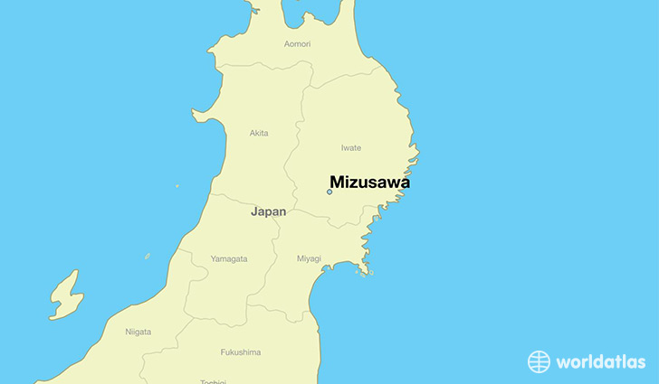 map showing the location of Mizusawa