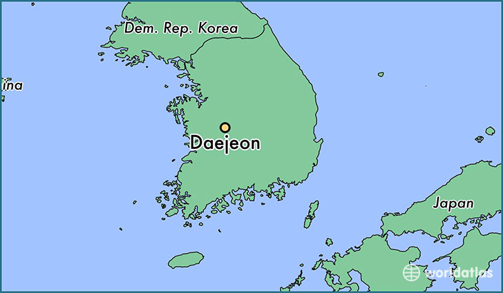 map showing the location of Daejeon