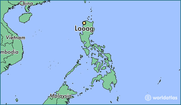 map showing the location of Laoag