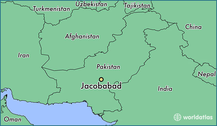map showing the location of Jacobabad
