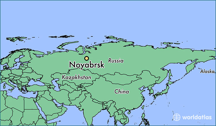 map showing the location of Noyabrsk