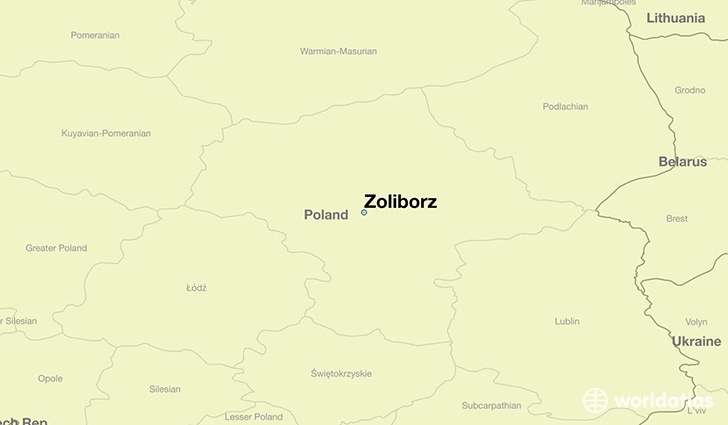 map showing the location of Zoliborz