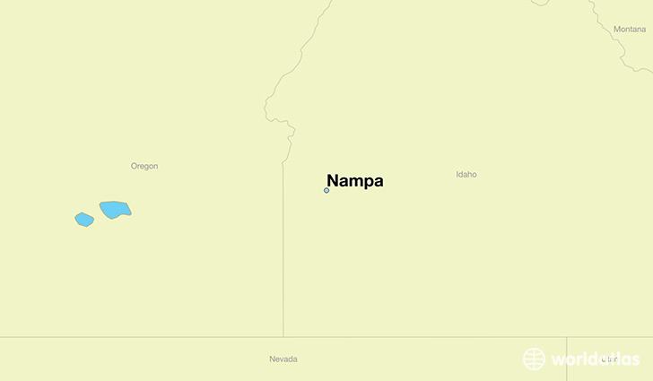 map showing the location of Nampa