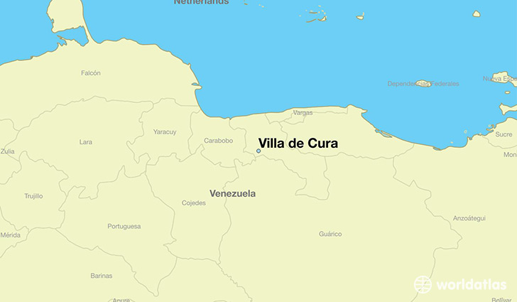 map showing the location of Villa de Cura