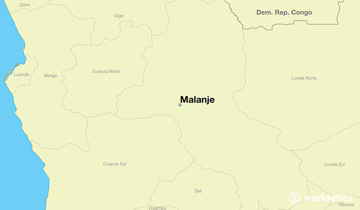map showing the location of Malanje