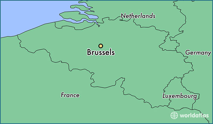 map showing the location of brussels