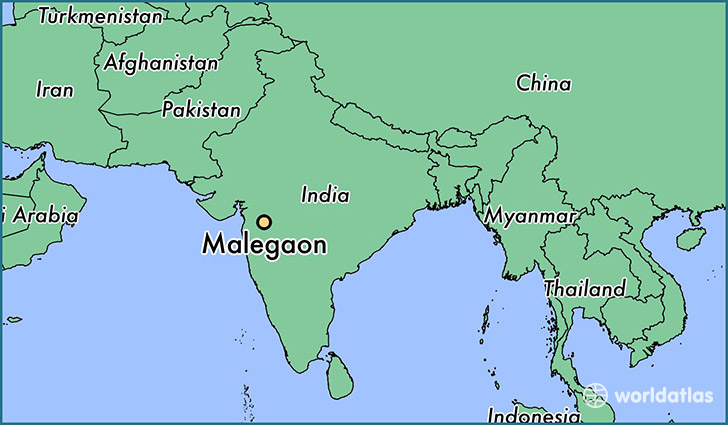 map showing the location of Malegaon