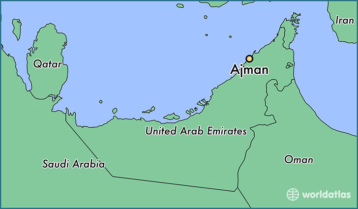 map showing the location of ajman