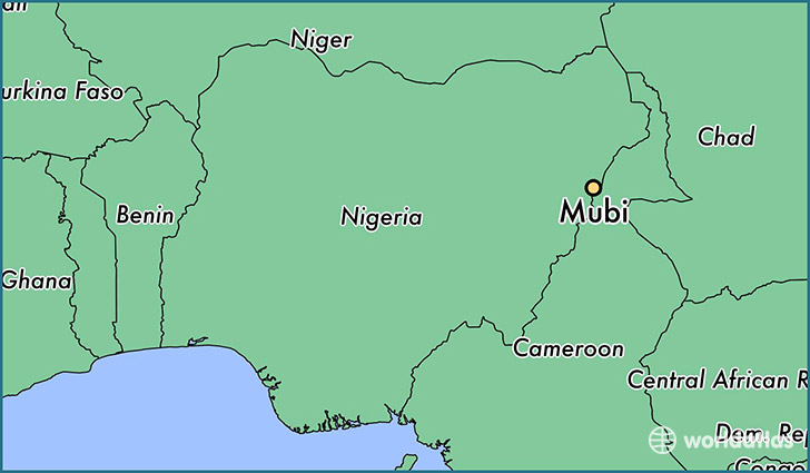 map showing the location of Mubi