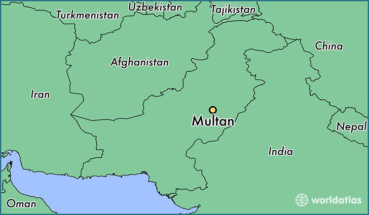 map showing the location of Multan