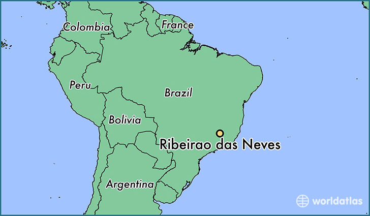 map showing the location of Ribeirao das Neves