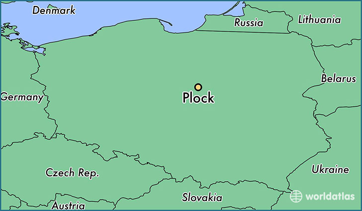 map showing the location of Plock