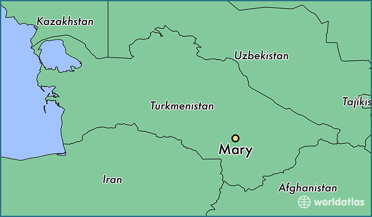 map showing the location of Mary