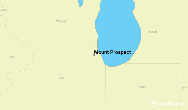 map showing the location of Mount Prospect