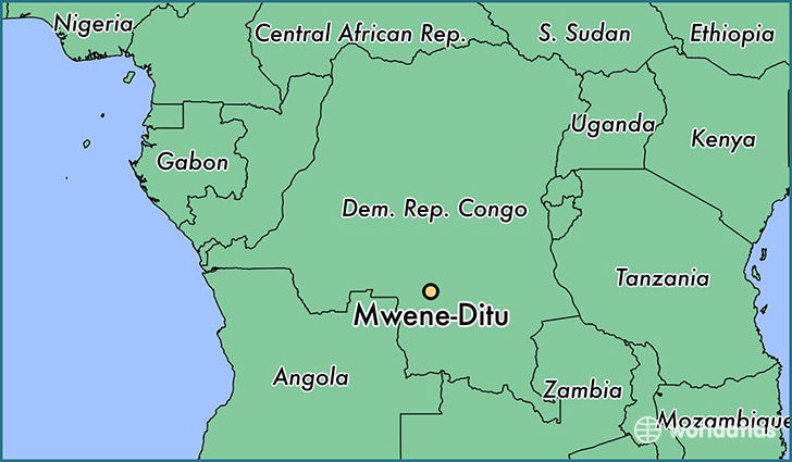 map showing the location of Mwene-Ditu