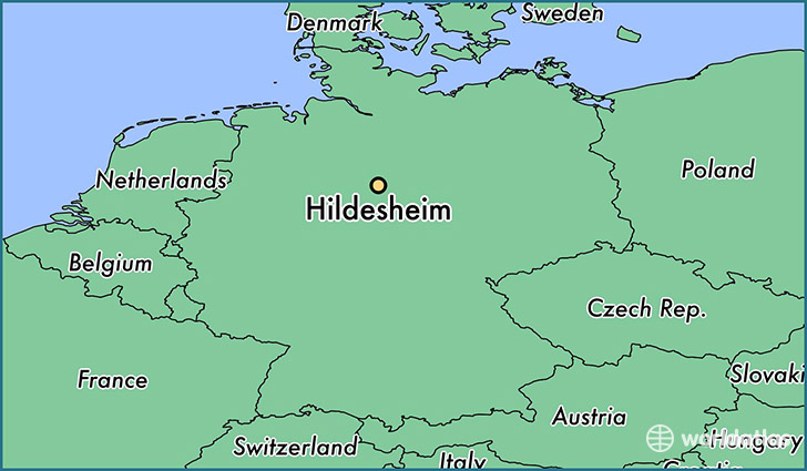 map showing the location of Hildesheim