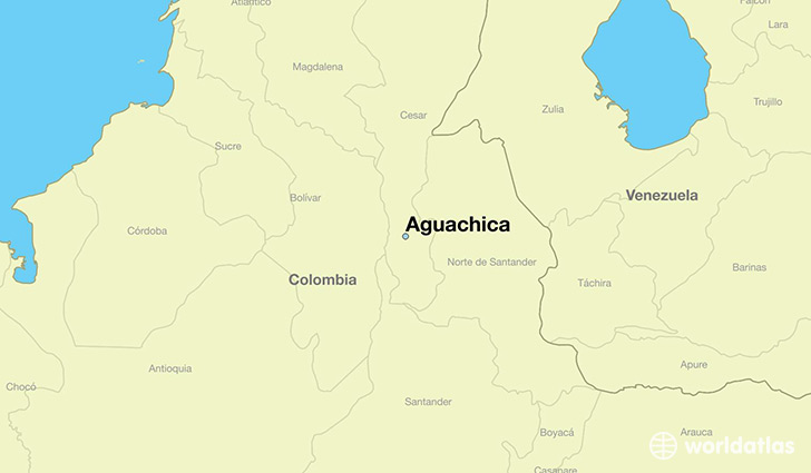 map showing the location of Aguachica