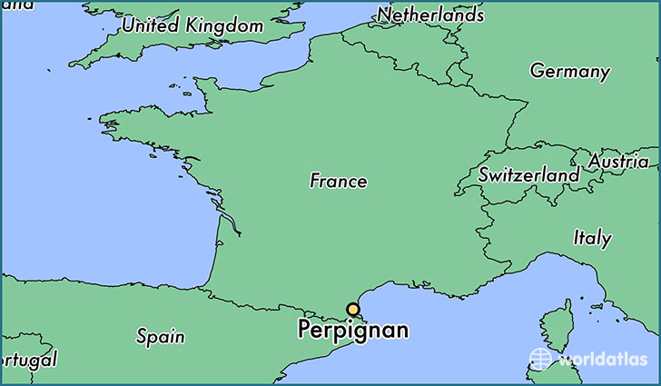 map showing the location of Perpignan
