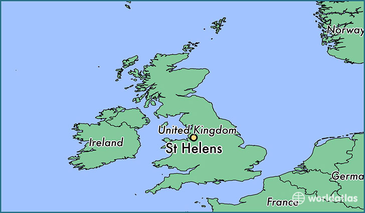 map showing the location of St Helens