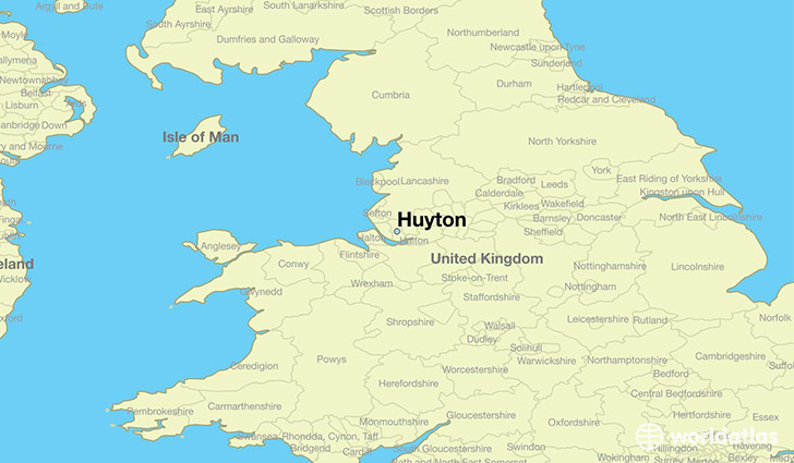 map showing the location of Huyton