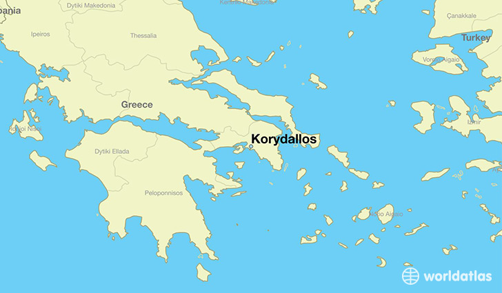 map showing the location of Korydallos