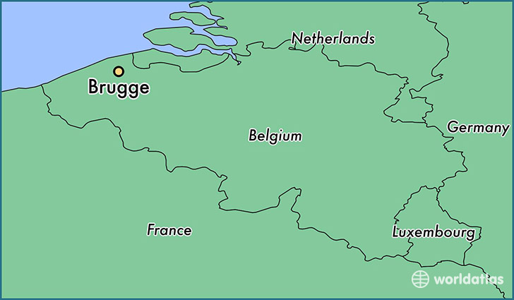map showing the location of Brugge
