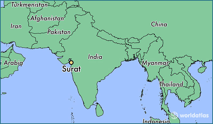 map showing the location of Surat