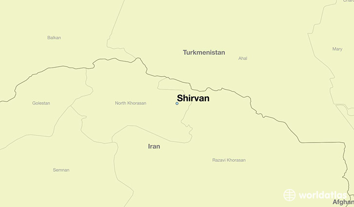 map showing the location of Shirvan