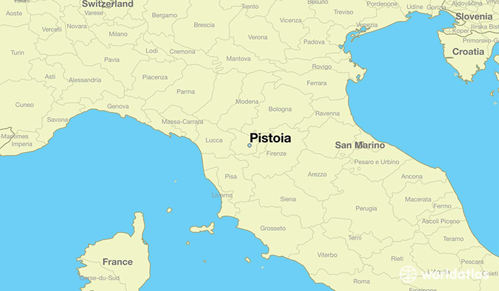 map showing the location of Pistoia