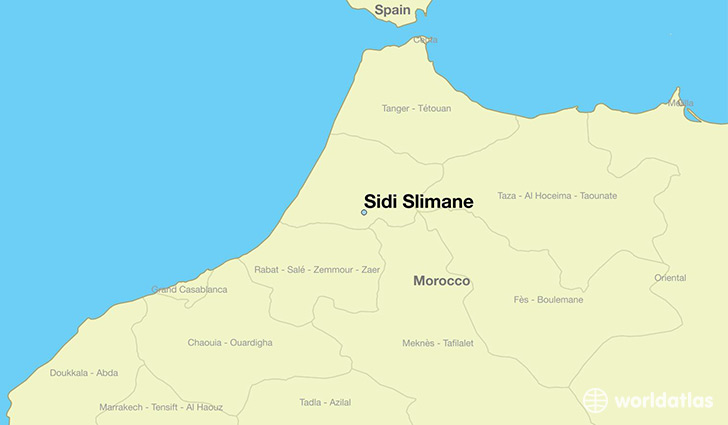 map showing the location of Sidi Slimane