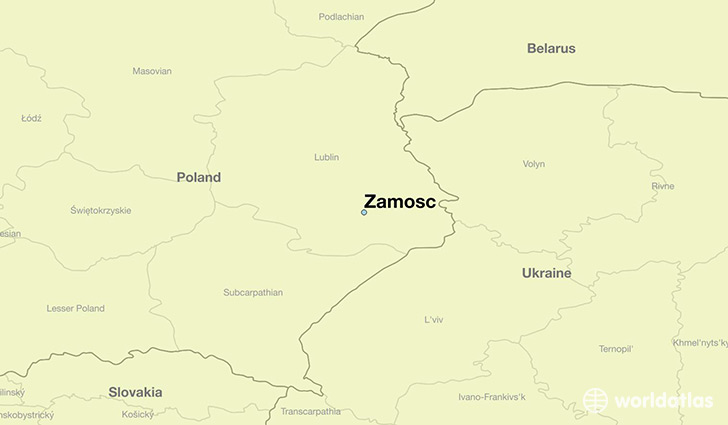 map showing the location of Zamosc
