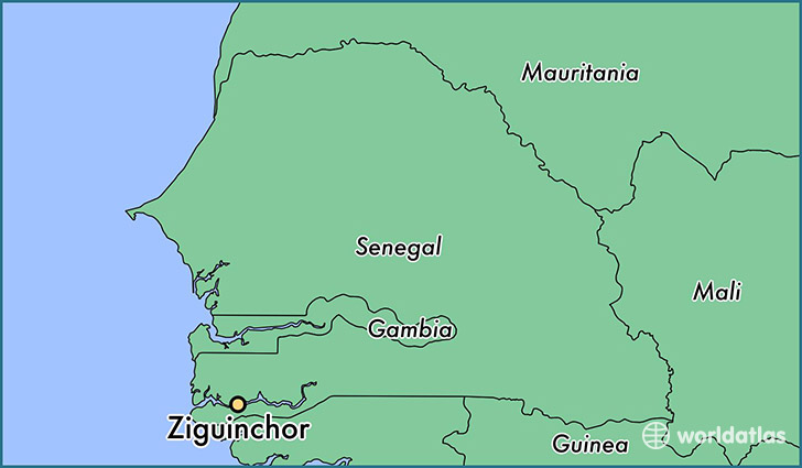map showing the location of Ziguinchor