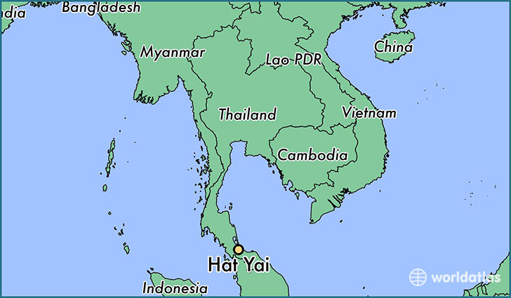 Where is Hat Yai Thailand Hat Yai Songkhla Map WorldAtlascom