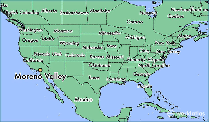 map showing the location of Moreno Valley