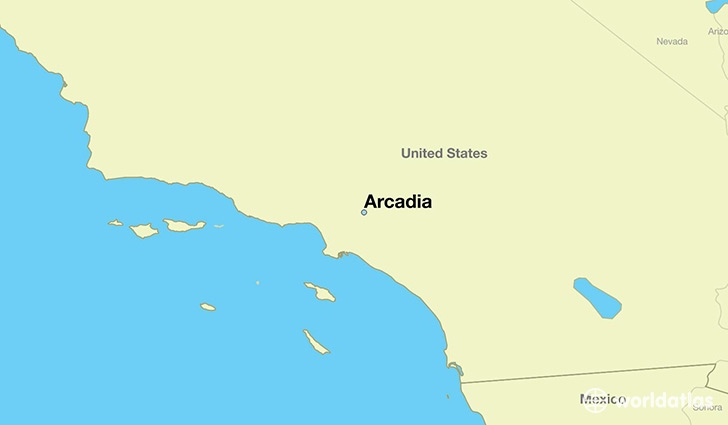 map showing the location of Arcadia